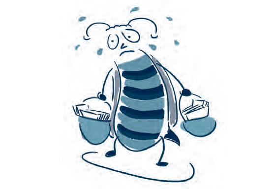 Das Bild zeigt das fleißige Bienchen, dass zu viel lernt in der Schule