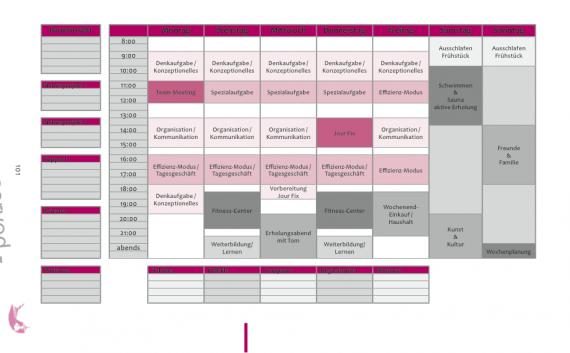 Dieses Bild zeigt einen Wochenplan für den Beruf