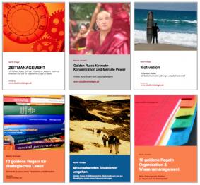6 ebooks: Zeitmanagement, Golden Rules, Motivation, 10 goldene Regeln für strategisches Lesen, mit unbekannten Situationen umgehen, 10 goldene Regeln Organisation&Wissensmanagement