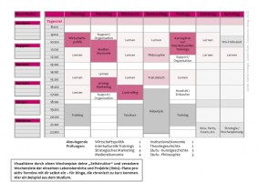 Wochenplan Beispiel Studenten