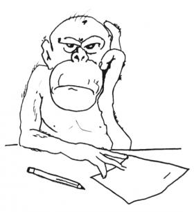 Das Bild zeigt einen unkonzentrierten Büroarbeiter oder Student
