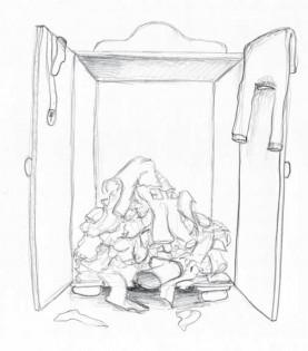 Kleiderschrank des Wissens Chaos beim Lesen ohne Struktur