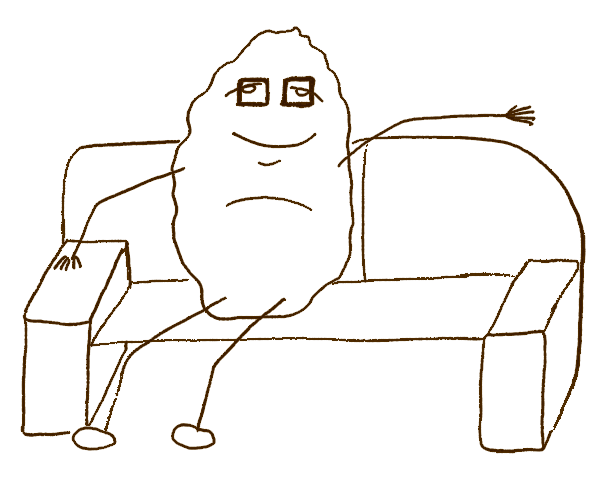 Komfortzone verlassen - Couchpotatoe Kartoffel auf der Couch