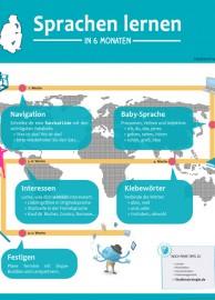 Infografik Sprachen lernen in 6 Monaten - 5 Schritte zur Fremdsprache