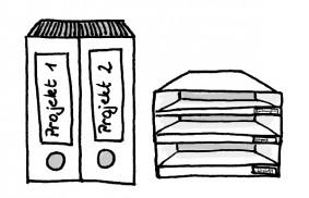 Platz schaffen durch Ablage und Ordner