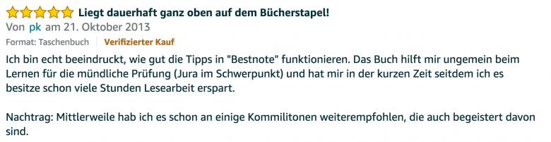 Erfahrungsbericht Lernkurs - Bestnote - Lernseminar - Lernratgeber - Buch Besser lernen - beste Lernmethode für Schueler und Studenten - Meinung - zu Martin Krengel.31