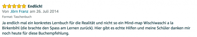 Erfahrungsbericht Lernkurs - Bestnote - Lernseminar - Lernratgeber - Buch Besser lernen - beste Lernmethode für Schueler und Studenten - Meinung - zu Martin Krengel52.01
