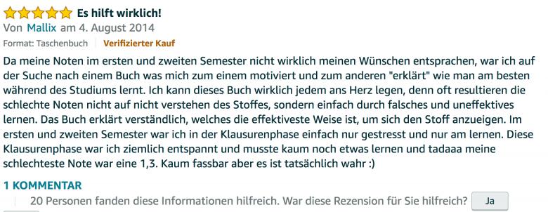 Erfahrungsbericht Lernkurs - Bestnote - Lernseminar - Lernratgeber - Buch Besser lernen - beste Lernmethode für Schueler und Studenten - Meinung - zu Martin Krengel55.45