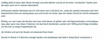 Rezension - Martin Krengel - Lerntipps - einfacher lesen und dinge verstehen und merken in Schule und Studium - Bestnote - Lernratgeber.13.35