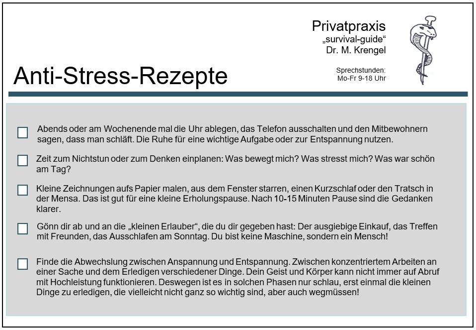 Anti-Stress-Rezept - Prokrastination - Aufschieberitis - Buch - Zeitmanagement - Selbstmanagement - Motivation - Konzentration - Studium - Lernen - Ratgeber - Dr. Martin Krengel