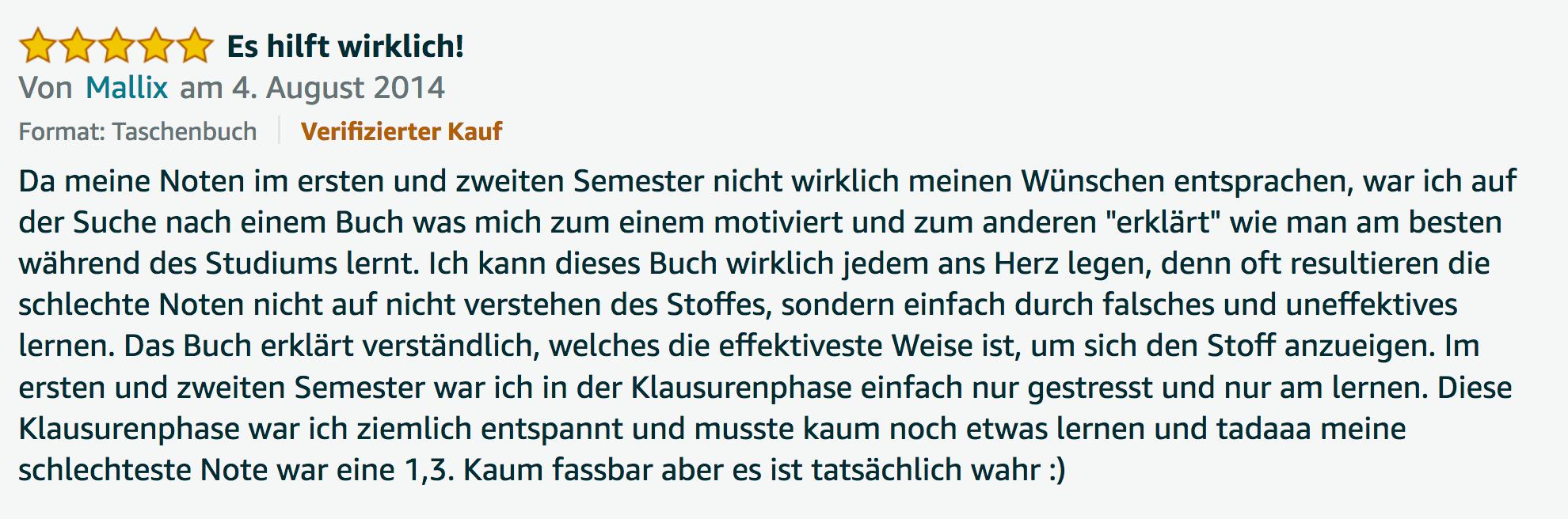 Bestnote Rezension Dr Martin Krengel Erfahrungsbericht Lernkurs - Lernseminar - Lernratgeber - Buch Besser lernen