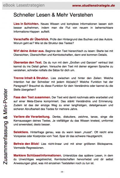 """Checkliste """"Schneller lesen - mehr verstehen"""" ebook Zusammenfassung von Dr Martin Krengel"""