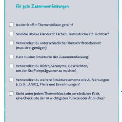 Checkliste fuer perfekte Zusammenfassungen und zum Erstellen von Lernzetteln - Dr Martin Krengel Studienstrategie
