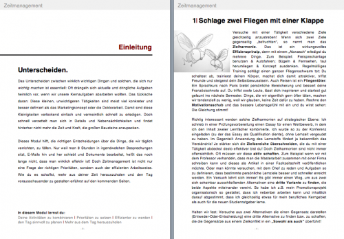 Einblick in ebook ZEITMANAGEMENT