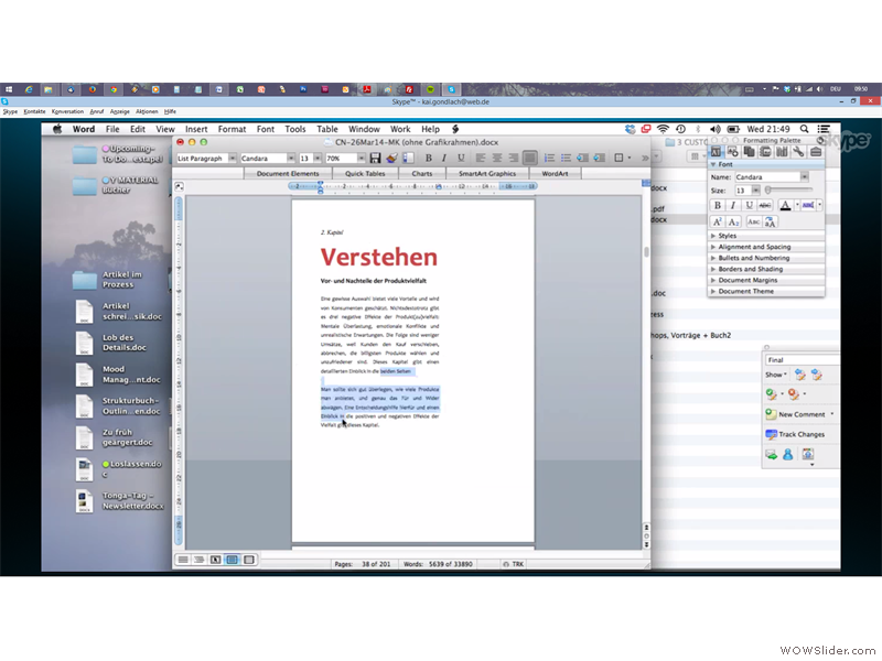 Skype-Session - zu viel Text